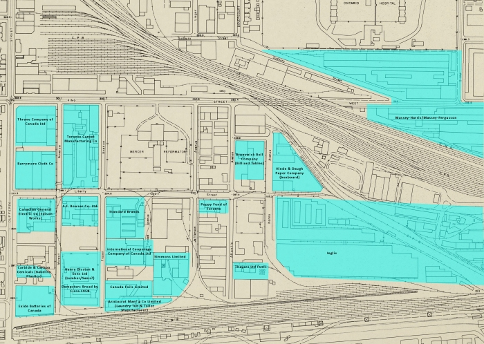 1958 Toronto Planning Board Map 6A w Industries