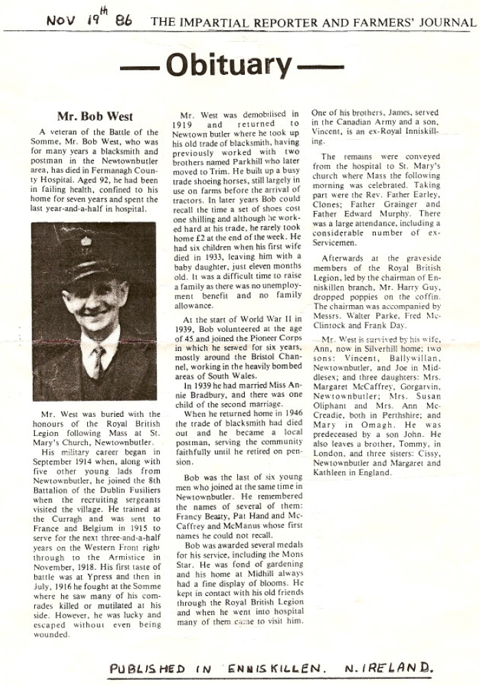 Obituary 1986 Bob West