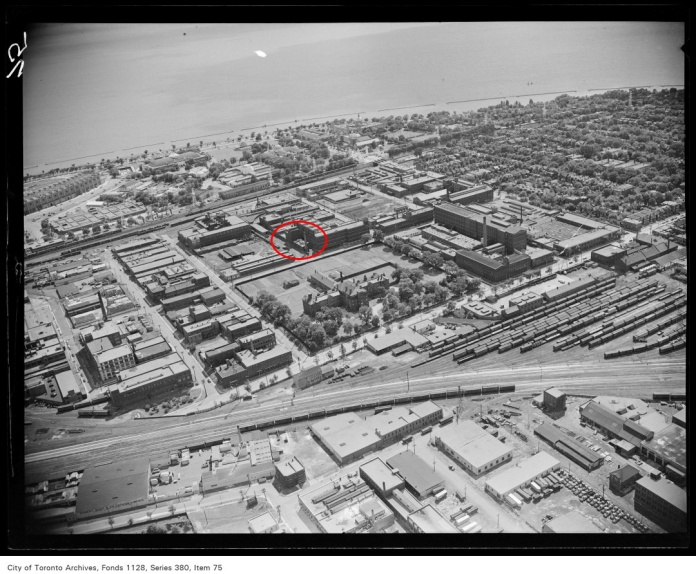 Aerial view of Toronto waterfront looking south to the Western Beaches